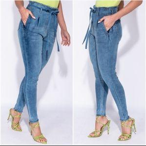 NWT Tyra High Waist Paper Bag Style Skinnies